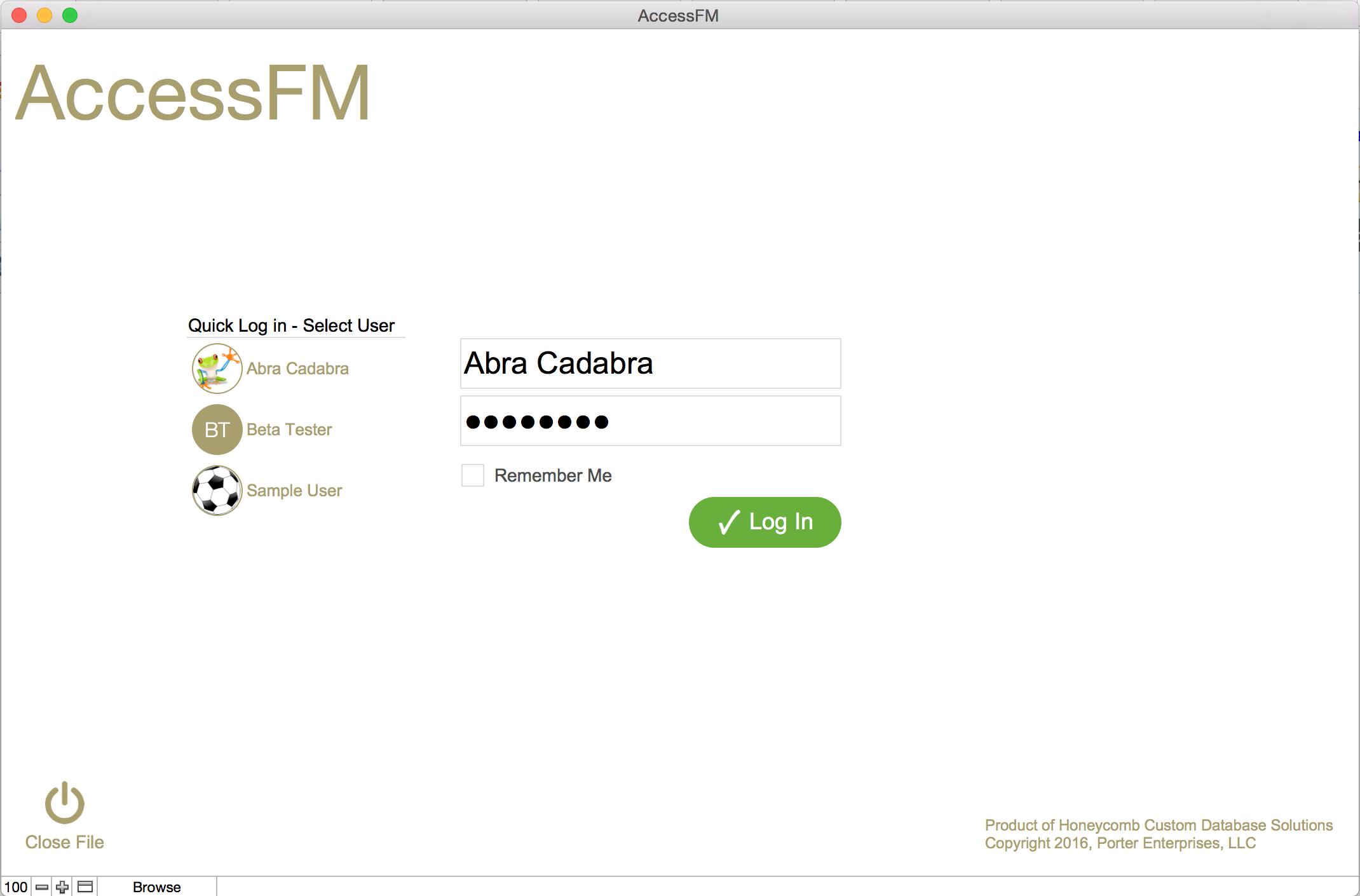 AccessFM Login Screen